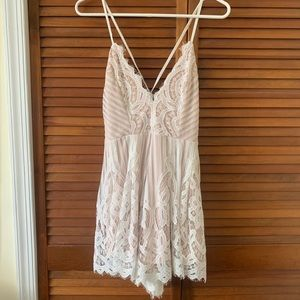 White Lace Romper with Lace Up Back